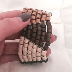 Jewelry - Beaded Thick Brown Wooden Boho Hipster Bracelet